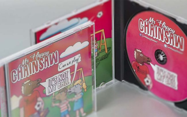 Pressed audio CD in a jewel case with booklet and rear inlay