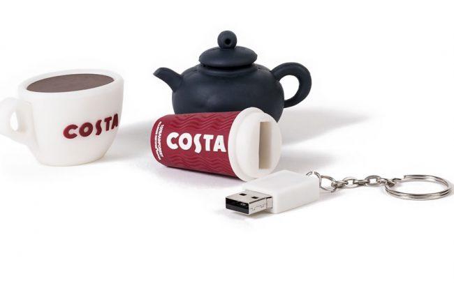 Coffee cup, mug and tea pot 3D custom shaped USB sticks
