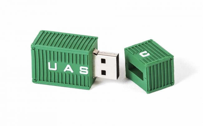 Shipping container shaped 3D custom USB stick