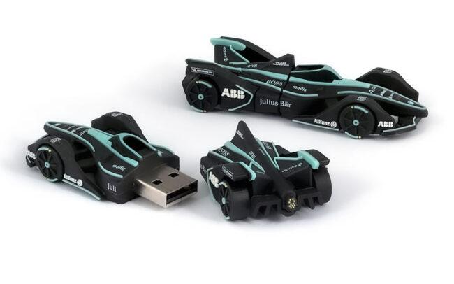 Racing car shaped 3D custom USB stick for Formula E press events