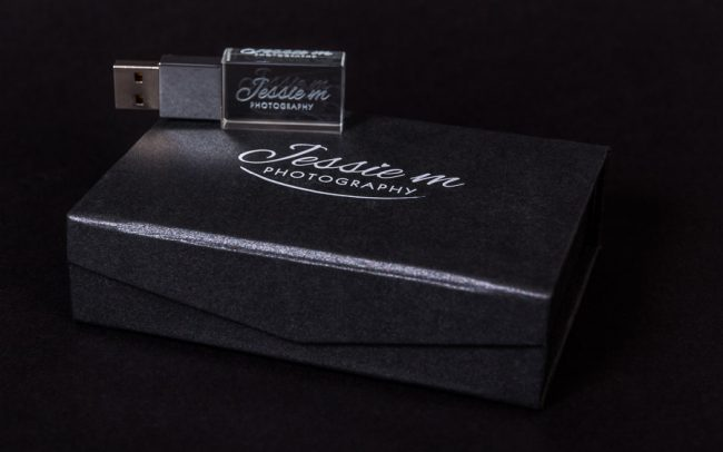 Laser etched crystal USB pen drive in branded presentation box