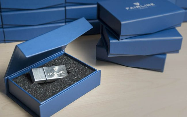 Metal USB in printed presentation box with foam insert