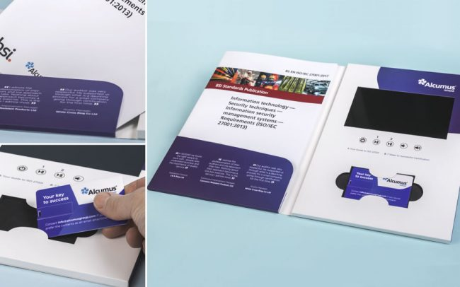 A4 video brochure with 7 inch screen, booklet pocket and slot for credit card USB
