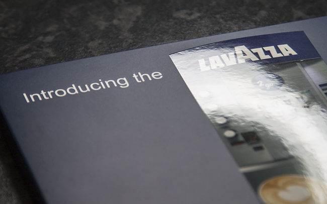 A5 video brochure with 7 inch screen, finished with matt lamination and spot UV varnish