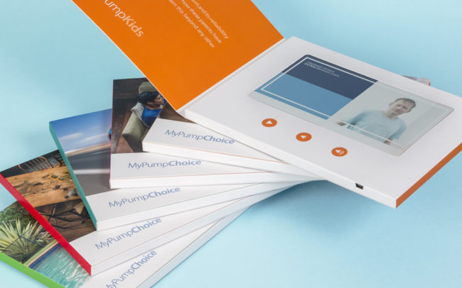 Set of 6 colourful video brochures, all with 7 inch screens