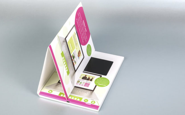 A5 video brochure with 5 inch screen and special folded section to hold business cards