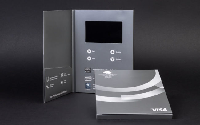 A5 video brochure in portrait with 5 inch screen and document pocket with metallic silver print
